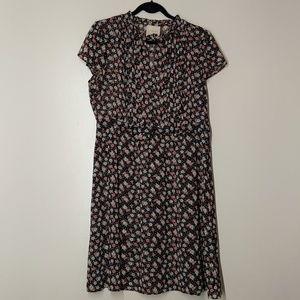 ModCloth Navy Blue Retro Floral Dress sz XL